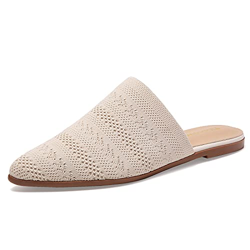 Tilocow Breathable Mesh Mules for Women Tan Pointy Backless Flat...