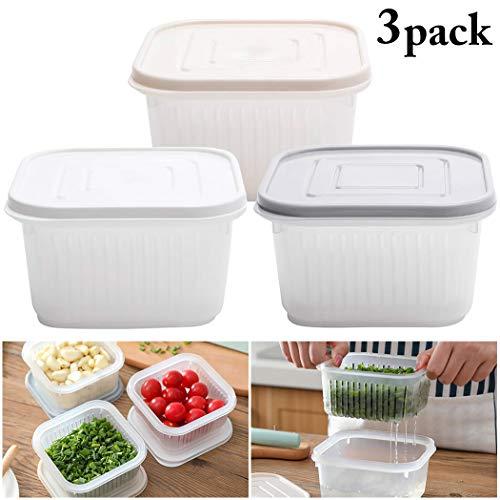 Bageek 3 Sets Mehrzweckbehälter für Lebensmittelbehälter für Zwiebel-Ingwer-KnoblauchFor Kitchen
