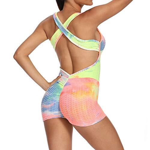 STRIR-Mono Mallas Pantalones Cortos Deportivos Leggings Mujer Yoga de Alta Cintura Elásticos y Transpirables Push Up Suave para Yoga Running Fitness con Gran Elásticos (#A, XL)