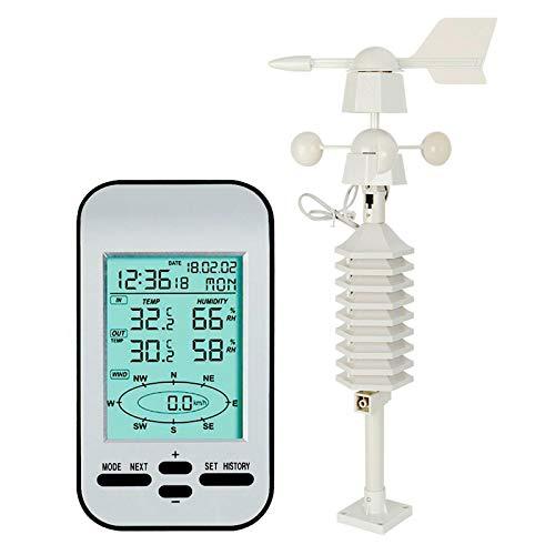 JFF Reloj De Estación Meteorológica Inalámbrica De 433 MHz con Sensor De Dirección Y Velocidad del Viento Se Utiliza para Predecir El Tiempo De Antemano Alcance De Transmisión De hasta 100 Metros