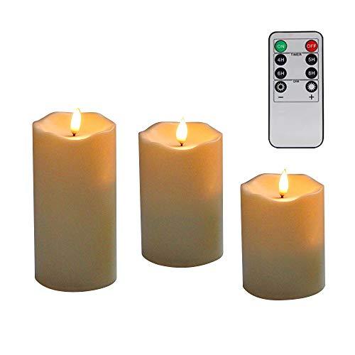 LED Kerzen,Flammenlose Kerzen,Dekorations-Kerzen-Säulen im 3er Set (10,2 cm 12,7 cm 15,2 cm). Realistisch flackernde LED-Flammen. 8-Tasten Fernbedienung mit 24 Stunden Timer-Funktion