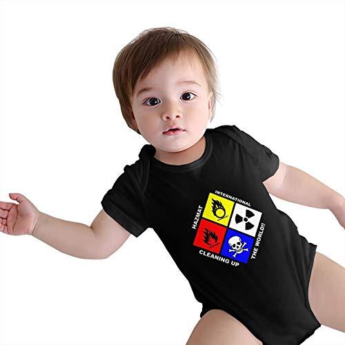 SNM HILL Baby Bodysuit Cotton Novel Hazmat International Short Sleeve Onesies Black