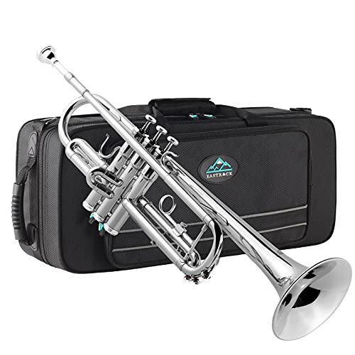 EastRock Nickel Plated Trumpet Bb Brass Standard Trumpet with Hard Case,...