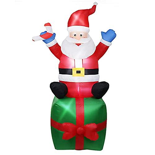 Decoraciones Navideñas Caja De Regalo Inflable Con Decoración De Papá Noel Para Sentarse Con Luces LED Brillantes Incorporadas De Papá Noel, Grandes Accesorios De Decoración Para Jardín (6 Pies) ADSVM