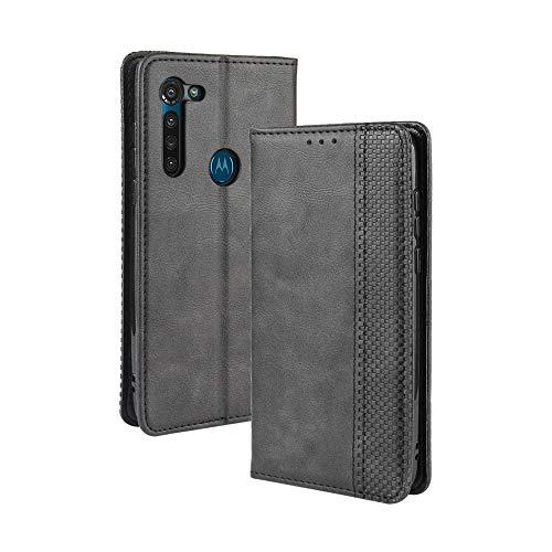 LAGUI Compatible para Funda Motorola Moto G8 Power, Carcasa Tipo Libro Protector Magn閠ico y Plegable de PU Soporte de Ranuras para Tarjetas, Negro