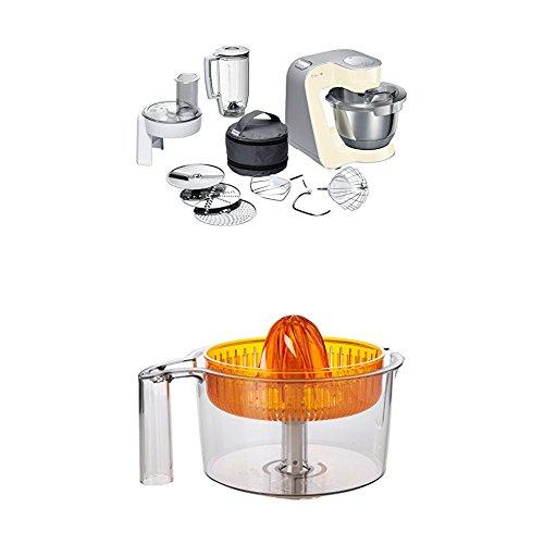 Bosch MUM58920 Küchenmaschine CreationLine, 1000 W, 3,9 l Edelstahl-Rührschüssel, 3D Rührsystem, 7 Schaltstufen, smooth vanilla/silber +  MUZ5ZP1 Zitruspresse transparent mit orangem Presskegel