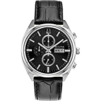 Bulova 96C133 Men's Surveyor Leather Chronograph Watch (Silver Tone/ Black Strap)