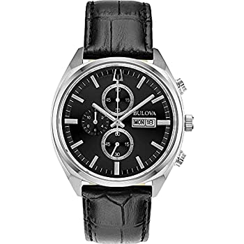 Bulova Classic Chronograph Mens Stainless Steel with Black Leather Strap Silver-Tone  Model  96C133