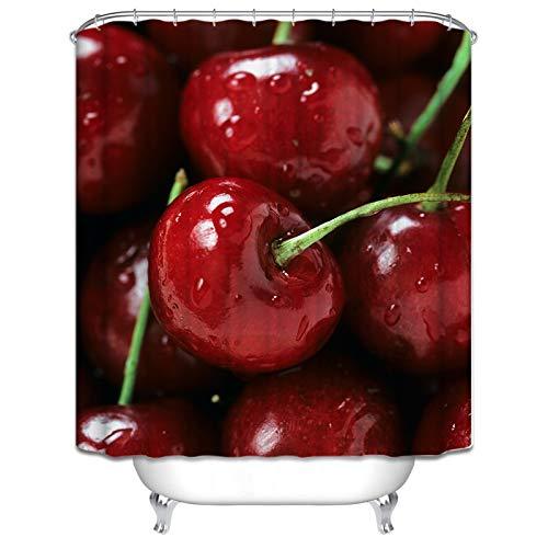 Daesar 3D Lustiger Duschvorhang 180x180 cm Obst Kirsche Duschvorhang Antischimmel aus Polyester-Stoff