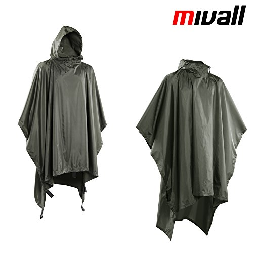 Mivall Trapper Regenponcho Nässeschutz Regenjacke wasserdicht oliv Tarp / Notdach, Unterlage gegen Feuchte