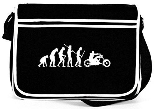 Shirtstreet24, EVOLUTION CHOPPER, Biker Motorrad Retro Messenger Bag Kuriertasche Umhängetasche, Größe: onesize,Schwarz