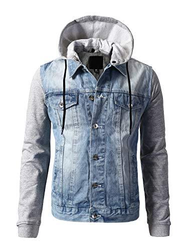 URBANCREWS Mens Hipster Button Down Fleece Combined Hoodied Denim Jacket - LSB - L