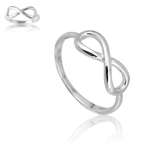 Beaux Bijoux Sterling Silver Infinity Figure 8 Ring (Size 7) Available in Sizes 4-4.5 - 5-5.5 - 6-6.5 - 7-7.5 - 8-8.5 - 9-9.5 - 10