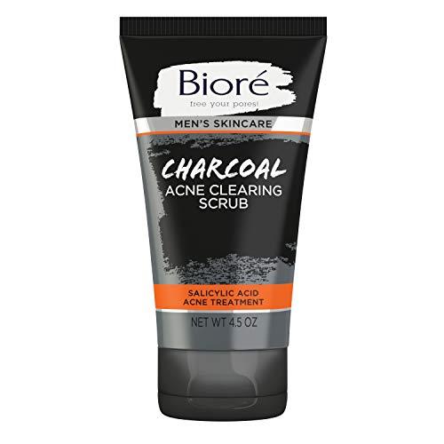 Bioré Men's Skincare Charcoal Acne Clearing Scrub, Salicylic Acid Acne Treatment, Scrubs Out Acne-Causing Dirt & Oil, 4.5 Ounces