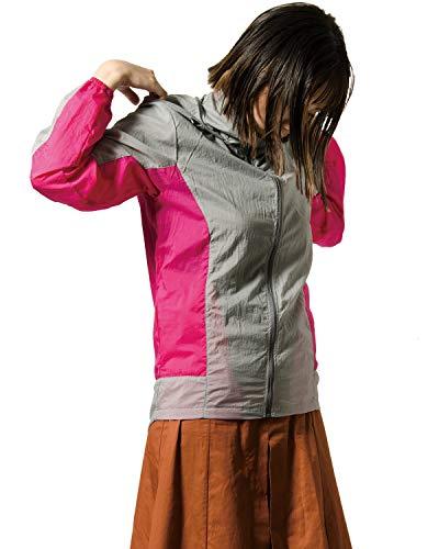 [マック] レインジャケット (高撥水/軽量生地) (テフロン撥水加工) (反射プリント) (ファスナー付きポケット) (フード調節可能) (収納ポーチ) レディース ピンク×グレー Free Size