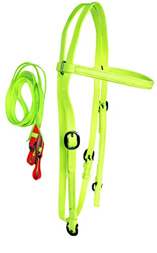 PRORIDER Horse Bridle Biothane Browband Headstall Tack Yellow 40HS73YL