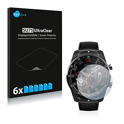 Savvies 6X Schutzfolie kompatibel mit Mobvoi Ticwatch Pro 2020 Bildschirmschutz-Folie Ultra-transparent