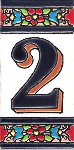 TORO DEL ORO Números casa. Numeros y Letras en azulejo Ceramica esmaltada, Pintados a Mano técnica Cuerda Seca. Nombres y direcciones. Diseño Flor Mediana 5,5x10,5 cm (Número dos