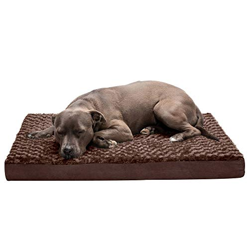Furhaven Pet Dog Bed - Deluxe Memory Foam Mat Ultra Plush Faux Fur Traditional Foam Mattress Pet Bed with Removable Cover for Dogs and Cats, Chocolate, Large