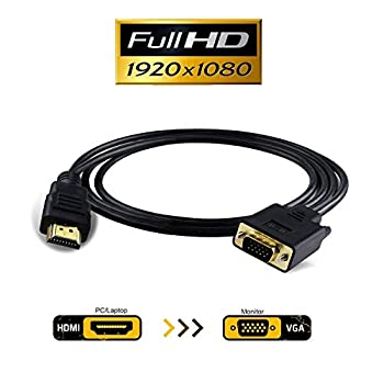 HDMI to VGA VAlinks 1080P HDMI to VGA Adapter  Male to Male  Video Converter Support Convert Signal from HDMI Input Laptop HDTV to VGA Output Monitors Projector-1.8m/6ft  hdmi to vga 1.8m/6ft