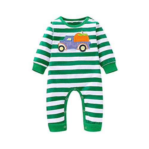 Infant Baby Boy Girl Fall Sleeping Pajamas Outfit Stripe Pumpkin Embroidery Long-Sleeve Onesies Jumpsuit Clothes