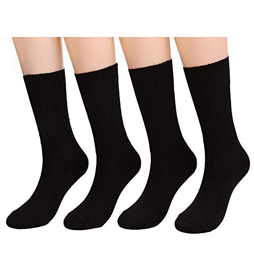 Socks Black Mid Calf Pack Socks High Ankle Socks Ladies Fit Casual Socks Crew Cotton Socks By CHOEES (Pack of 4 Pairs | Size 5-10)