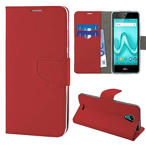 N Newtop Schutzhülle kompatibel mit Wiko Tommy 2, HQ Lateral Hülle Buch Flip Magnetverschluss Brieftasche Kunstleder Stand (Rot)