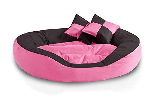 BedDog 4en1 Saba Rosa/Negro XL Aprox. 85x70cm colchón para Perro, 7...