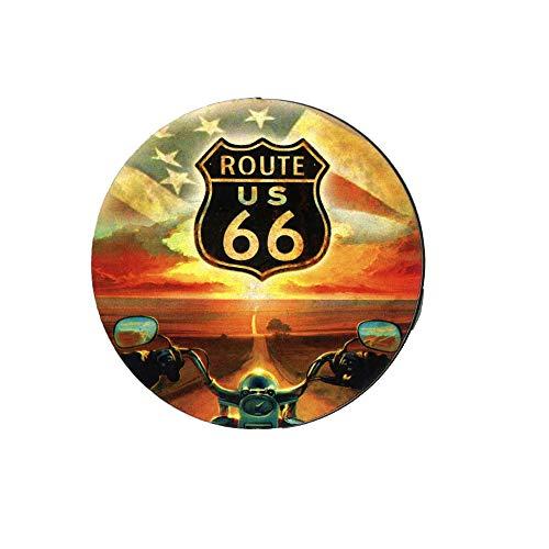 Imán De Nevera Impreso En Estilo Vintage En Madera – Idea Regalo (Route 66 forma circular)