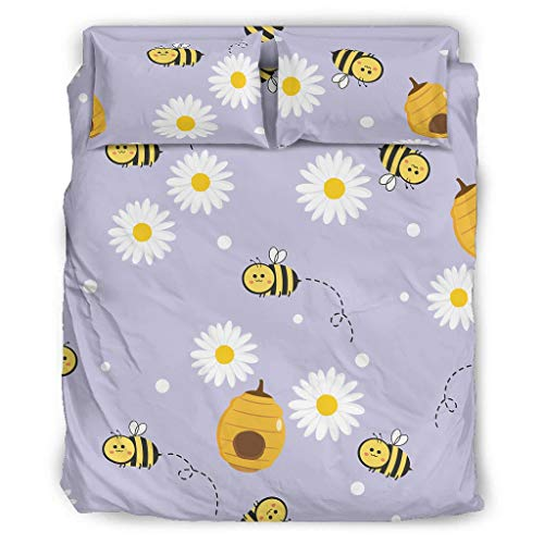 Bee Daisy Flowers Purple Bedding Cover Set Luxury 4-Piece Bedding Covers Set Bedding Collection with 2 Pillow 1 Bed Sheet White Cal King
