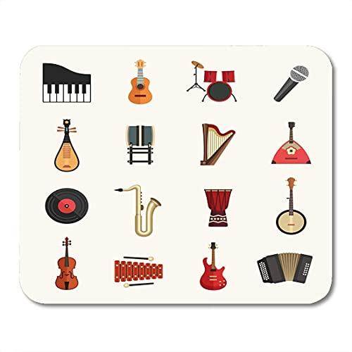 Mauspads Aufkleber Musik Musikinstrumente Flache Violine Banjo Klavier harmonische Piktogramm Mauspad für Notebooks, Desktop-Computer Matten Büromaterial