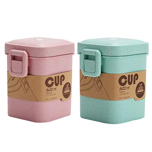 Hemoton 2 Pzas 600Ml a Prueba de Fugas Sopa Taza de Paja de Trigo Alimentos Sellado Tanque Contenedor Invisible Snap Close Fideo Cereal Ensalada de Almacenamiento para Picnic Al Aire