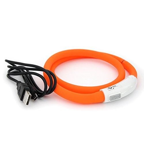 LED USB Silicón Collar Luminoso para Perros, gatas, Mascotas. Recargable vía USB (Tamaño S-L se Puede Cortar Individualmente a 18-65 cm) en Naranja de la Marca PRECORN