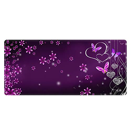 Meffort Inc Extra Large Extended Gaming Desk Mat Non-Slip Rubber Pads Stitched Edges XXL XXLG Mouse Pad 35.4 x 15.7 inch - Flower Heart Butterfly