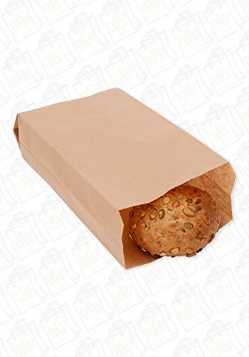 Bäckerfaltenbeutel 14+6x30cm braun, Brötchentüte, Snacktüte, Bäckertüte, Bäckerbeutel Größe 100 Stück