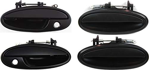 Exterior Door Handle Compatible with BUICK PARK AVENUE 1997-2005 Front and Rear Door Handle Right Side and Left Side Set of 4 Outside Smooth Black Plastic