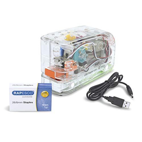 Rapesco 1450 626EL Automatic Electric Stapler USB/Battery, Transparent