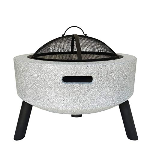 XXJF Outdoor Fire Pit Wood Burning 23'' BBQ Grill, Fire Pit Bowl Garden Stove with Mesh Spark Screen Cover Bulit-in Grate for Camping Picnic Bonfire Patio