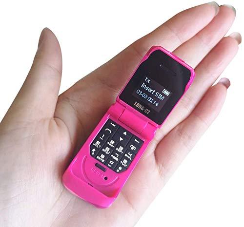 LONG-CZ J9 World Mini Smallest Flip Mobile Phone Unlocked (Pink)