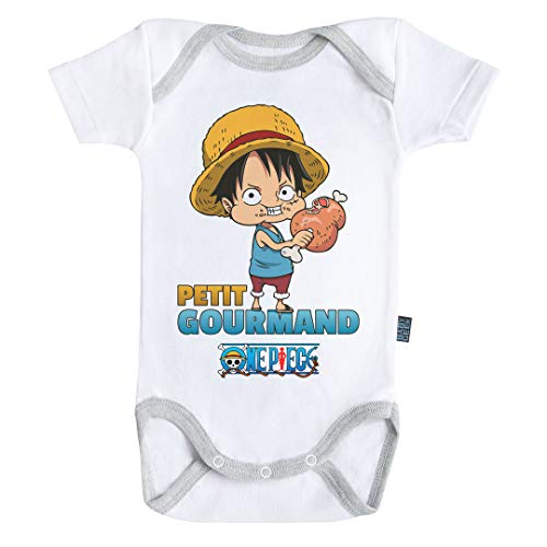 Baby Geek Petit Gourmand - Luffy - One Piece ™ - Licence Officielle - Body Bébé Manches Courtes (6-12 Mois)