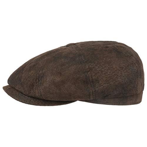 Stetson Gorra de Piel Pigskin Hatteras Hombre - Gorros con Visera Newsboy Gorro Ivy Visera, Forro Verano/Invierno - XXL (62-63 cm) marrón