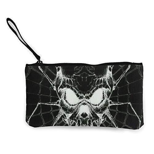 Moneda de lona, tela de araña, diseño de calavera, bolsa de cosméticos con cremallera, bolsa de maquillaje multifunción para teléfono móvil, estuche con asa