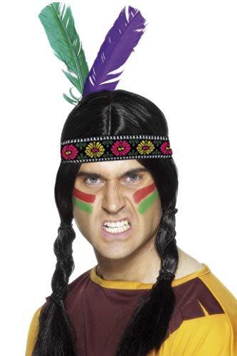Smiffys Herren Indianer Stirnband mit Federn, One Size, Bunt, 22291