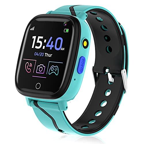 Smartwatch per Bambini, Orologio Smartwatch Telefono con Lettore Musicale Gioco per Ragazzi Ragazze 4-12 Anni Smart Watch Touch Screen Sveglia Chiamata SOS Fotocamera Regalo di Compleanno (Blu)
