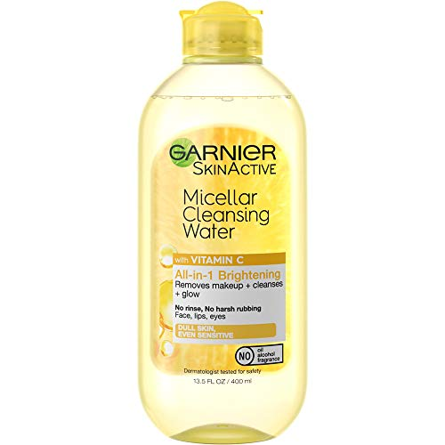 Garnier SkinActive Micellar Cleansing Water with, to Cleanse Skin, Remove Makeup, and Brighten Dull Skin, 1 Count, Vitamin C, 13.5 Ounce