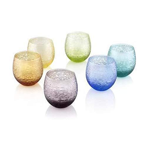 Ivv Everyday Denim Juego de 6 Vasos de Agua de Cristal rosa