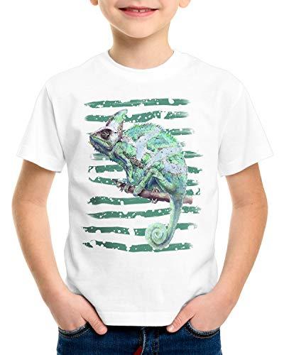style3 Chamäleon T-Shirt für Kinder reptil echse Farbwechsel, Größe:128