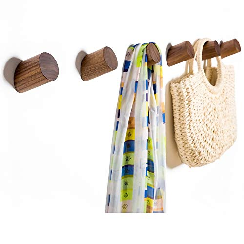 Wall Hooks Felidio Natural Wood Coat Hooks Wall Mounted Pack of 2pcs - Rustic Wall Coat Rack Hat Hooks Robe Hook Entryway Wall Hangers Heavy Duty Hooks for Hanging Towels Black Walnut