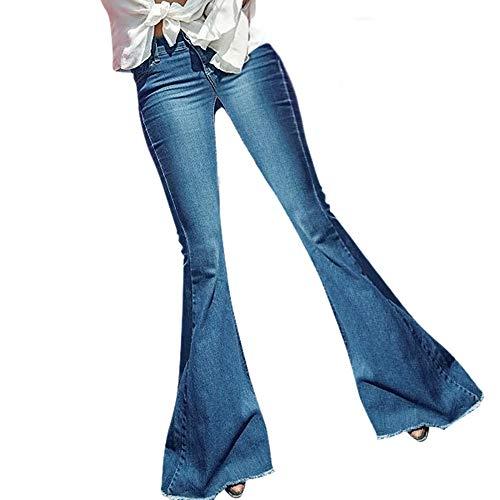Pantalones Vaqueros Rotos Cintura Medio para Mujer Invierno Primavera,PAOLIAN Vaqueros Acampanados Bootcut Elasticos Tallas Grandes Leggings Ancho Pantalones Jeans Flaco Suelto