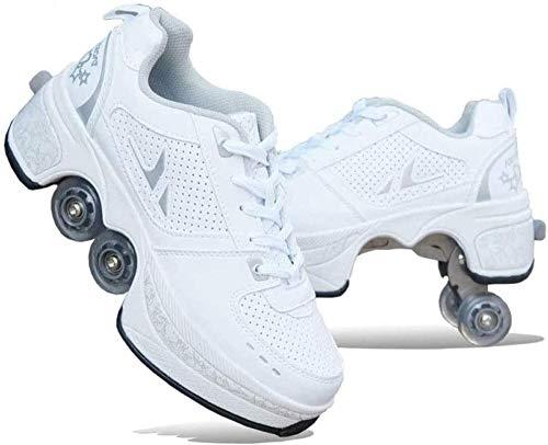CNMF Rollschuh Roller Skates Lauflernschuhe,Sneakers,2in1 Mehrzweckschuhe Schuhe Mit Rollen Skateboardschuhe,Inline-Skate,Verstellbare Quad-Rollschuh Stiefel Skateboardschuhe,White-EU38/UK5-5.5